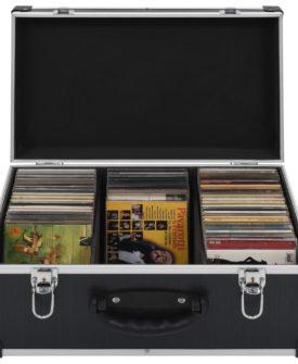 vidaXL CD-kasse til 60 CD'er aluminium ABS sort