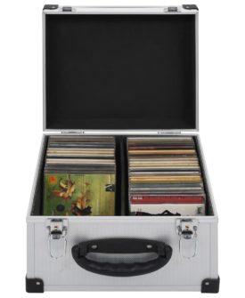 vidaXL CD-kasse til 40 CD'er aluminium ABS sølv