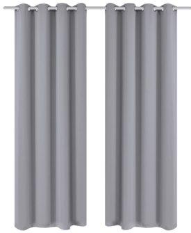 2 stk Grå Blackout Gardiner med Metal Ringe 135 x 245 cm